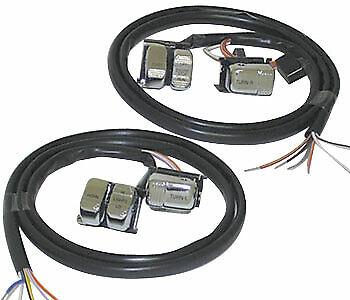"w// Chrome Switches 48/"" Wiring Harness 96-06 Mid USA Handlebar Wiring Kit +12/"""
