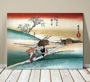 "Beautiful Japanese Landscape Art ~ CANVAS PRINT 24x16"" ~ Hiroshige Women Walking"