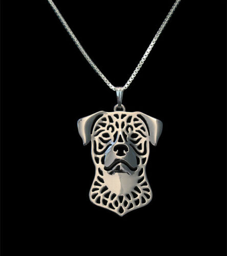 Rottweiler Dog Canine Collection Silver Tone Metal Pendant Necklace