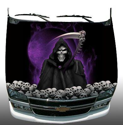 Grim reaper skulls purple race car go kart vinyl graphic decal