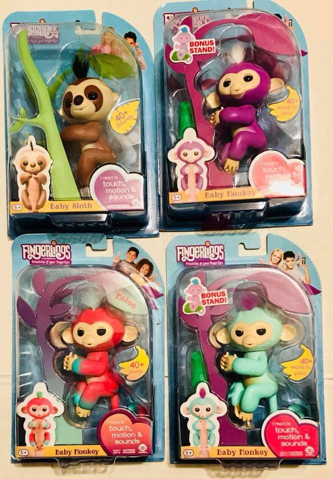 4 Fingerlings Zoe Mia Kingsley Melon Monkey Fingerling Pet WowWee Interactive