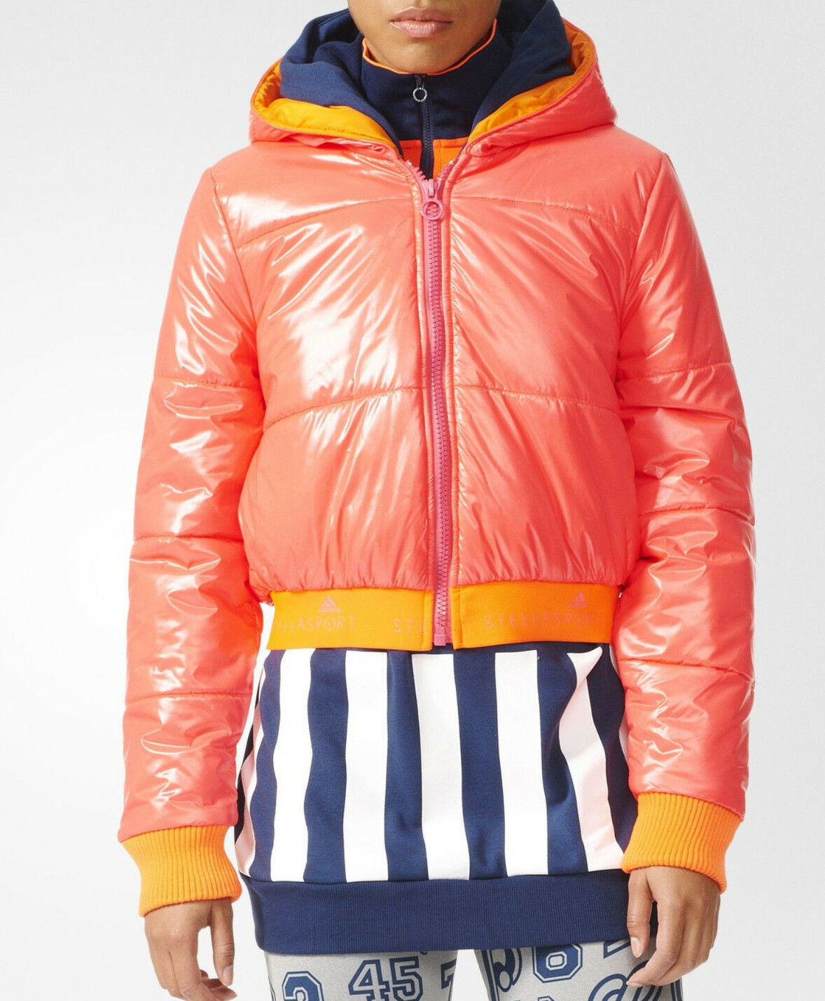 ADIDAS STELLASPORT WARM PADDED PUFFER JACKET RED/ORANGE M SOLAR RED/ORANGE JACKET $150 NEW W/TAGS da90ec