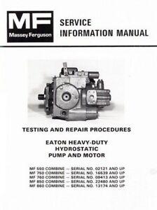 Massey Ferguson Mf 550 750 760 850 860 Combine Eaton Pump Motor Service Manual Ebay