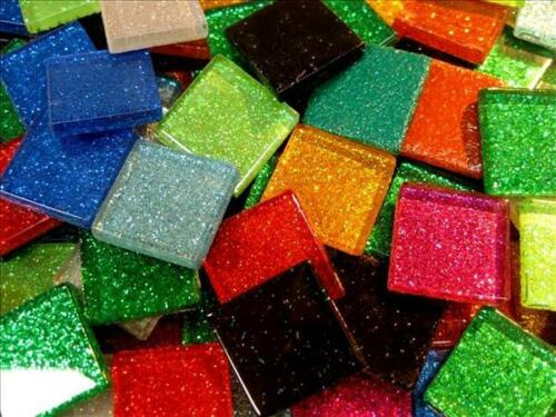 Arts and Crafts Glass Tessera Card Making A Mix of Mosaic Glitter Tiles