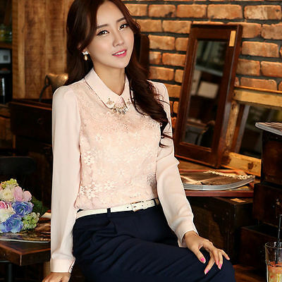 Ladies Lace Floral Buttons-type Tops Sequin Peter Pan Collar Shirt Stitching Top