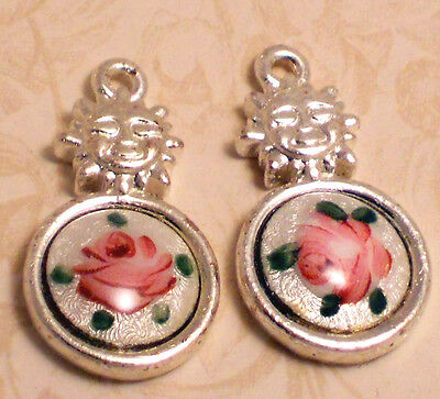 #425 Vintage Guilloche Charms Rose Enamel Silver Pink Flower Sun Pendant NOS