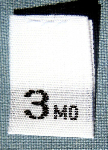 SIZE TAGS WHITE 3 MONTH 100 PCS WHITE WOVEN CLOTHING LABELS