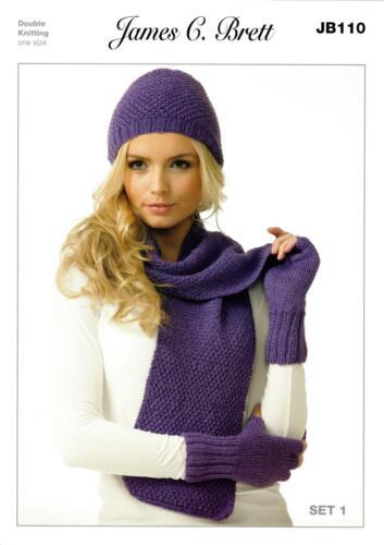 Brett JB110 Knitting Pattern Womes Hat Scarves and Gloves in Twinkle DK James C