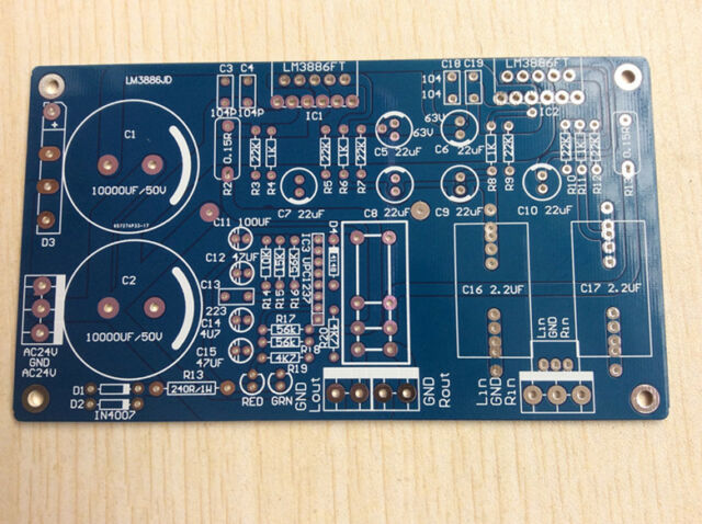 LM3886 Stereo Power Amplifier Board PCB with Speaker Protection 68W*2 NE5532