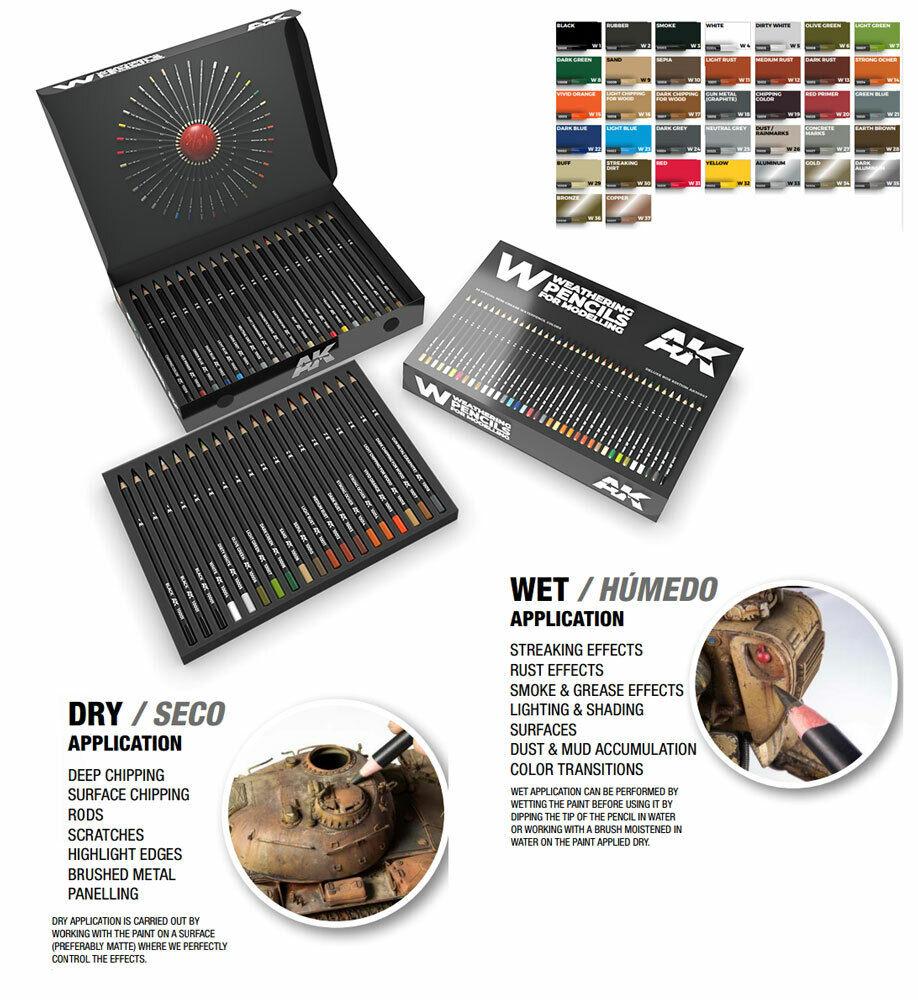 AK-Interactive Weathering Semi Grease Water Pencils Box Box Box (37 colours) 4c2