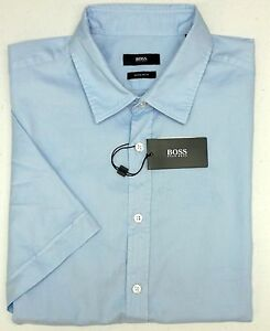 NWT-145-Hugo-Boss-Regular-Fit-Light-Blue-Shirt-Mens-S-Luka-Short-Sleeve-NEW