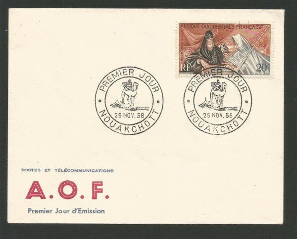 Fdc 1er Jour 1958 A.o.f. Timbre P. Aérienne Oblit. Nouakchott Mauritanie /l2088 Soulager La Chaleur Et La Soif.
