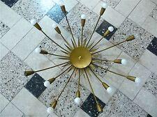 Large SUNBURST CHANDELIER Brass Lamp Flush-Mount Sconce Leuchter Lampe 50er 50s