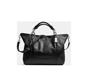 c640b7bbea Image is loading NWT-Coach-Colette-Black-Leather-Fashion-Satchel-Shoulder-