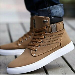 Fashion-Mens-Oxfords-Casual-High-Top-Shoes-Leather-Shoes-Canvas-Sneakers-New-1