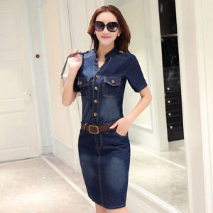 301fc25ee51 Women Denim Shirt Dress Short Sleeve Pocket Bodycon Distressed Fade ...