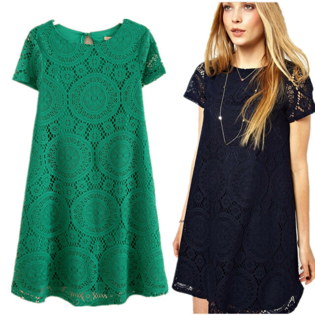 Women's Floral Summer Sexy Lace Casual Short Party Evening Cocktail Mini Dress