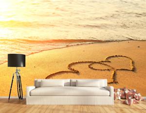 3D goldene Strandherzform 6 Tapete Tapeten Mauer Foto Familie Tapete Wandgemälde