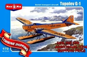 """Mikro Mir 72-012 """"Tupolev G-1 Soviet transport aircraft"""" plastic model kit 1/72"""