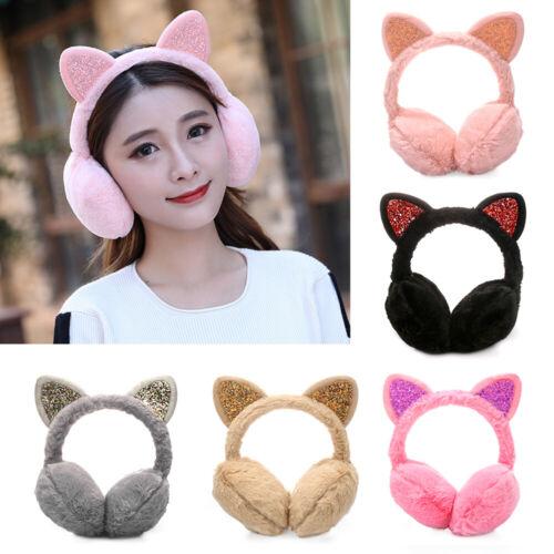 Winter Warm Earmuffs Cat Ears Cat Ear Ear Warmers Outdoor Earmuff Women Girls UK