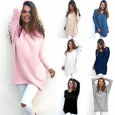 Womens Casual Loose Long Sleeve Pullover Sweater Shirt Baggy  Blouse Jumper Tops
