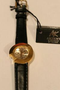 Akzent Armbanduhr gelb Lederarmband 66-30149