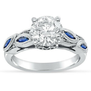 14k White Gold Round Cut Engagement Ring With Sapphire Accents R244