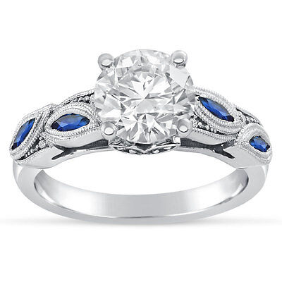 14k White Gold Round Cut Engagement Ring With Sapphire Accents R244 Ebay