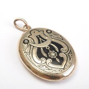 Antiker-Medaillon-Foto-Anhaenger-um-1860-14-Karat-585-Gold-Email-Perlen