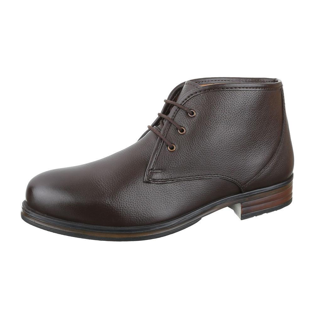 Cuero con cordones botines botas zapatos caballero oscuro nuevo marrón oscuro caballero 1245 f501dd