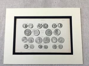 1880-Antique-Print-Old-Coins-Ancient-Greece-Coin-Money-Grecian-Greek-Numismatics