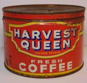 Vtg 1950s RED OWL HARVEST QUEEN COFFEE TIN KEYWIND 1 POUND MINNEAPOLIS MINNESOTA