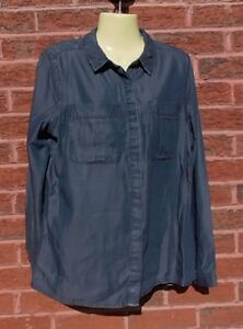 Ladies-Blue-Denim-Shirt-Size-12-VGC