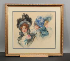 Antique MARIANNE STOKES Illustration Watercolor Painting Victorian Women & Hats