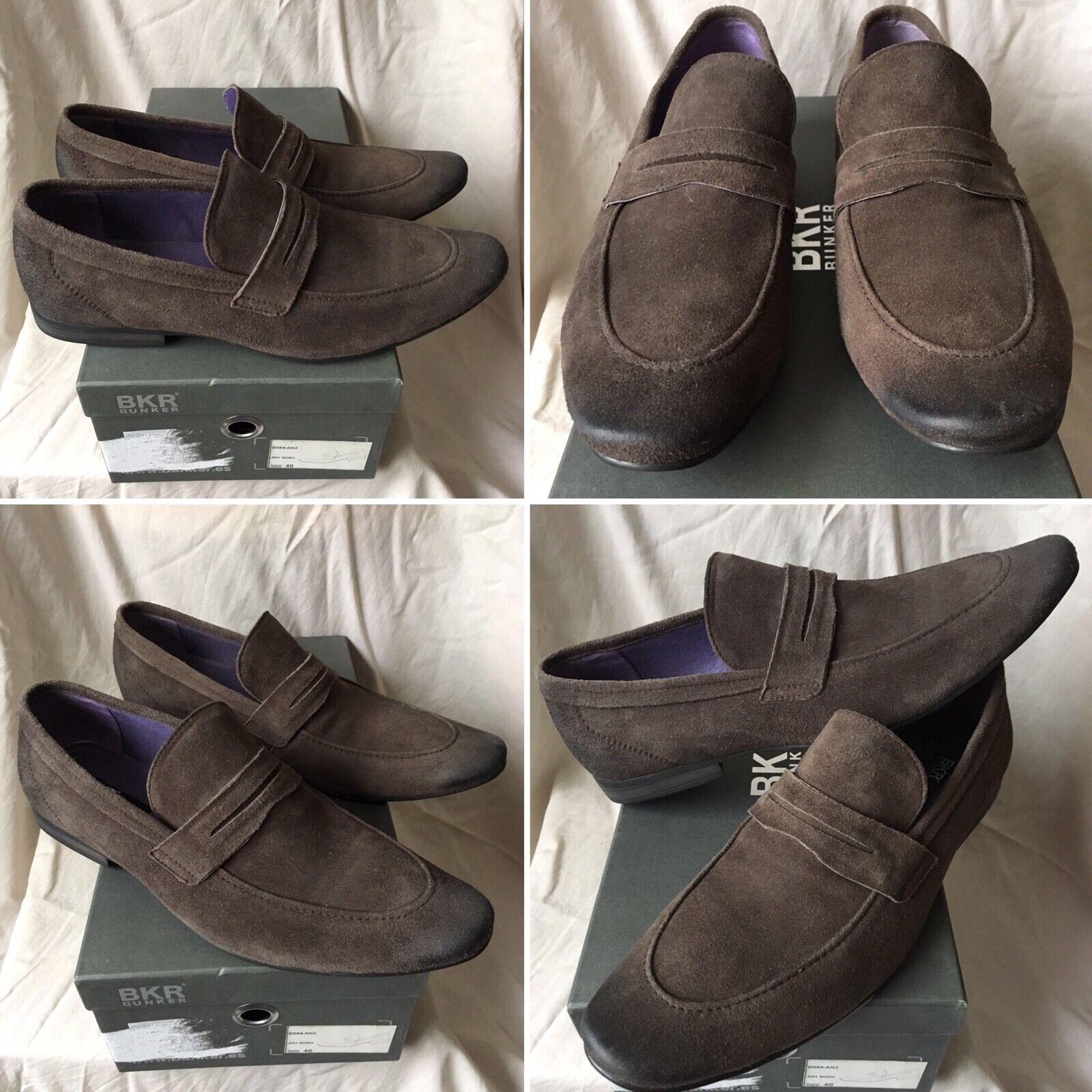 SOLD OUT RARE marrón BUNKER BKR LEATHER MOCASSINS zapatos zapatos  B584 Talla 40