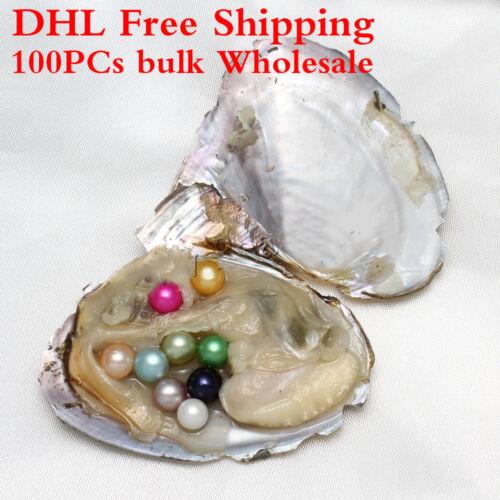 100Pcs Mix couleur vrac Freshwater huîtres Pearl 1 en 1 7-8 mm Pearl Dhl Expédition