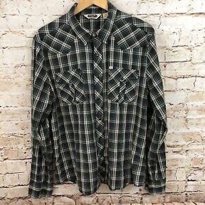 Salt-Valley-western-shirt-mens-XL-pearl-snap-plaid-black-long-slv-F7