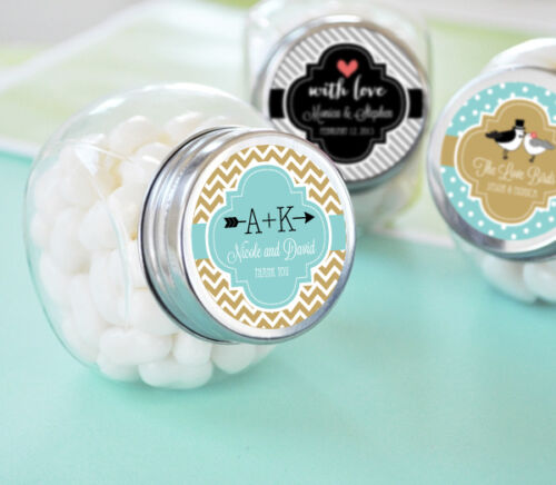 24 Wedding Theme Personalized Candy Jars Favors Lot