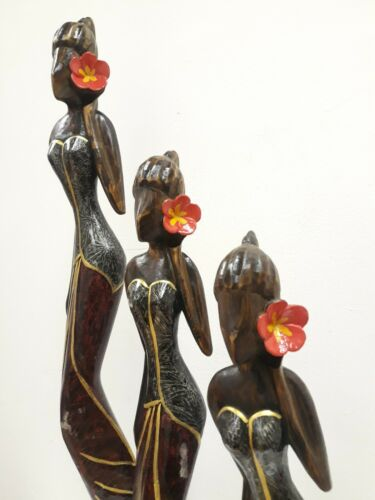 Home Decor Set of 3 painted Thai women Carved wooden 80//50cm tall UNIQUE display