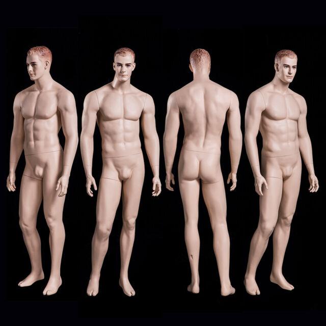 Genesis Male Full Body Mannequin w//Base Glossy White Fiberglass Egg Portable