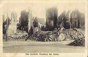1-Weltkrieg-Das-zerstoerte-Donchery-bei-Sedan-Ansichtskarte-von-1916