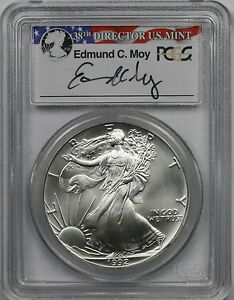 1992-American-Silver-Eagle-1-MS-69-PCGS-Edmund-C-Moy-Signature