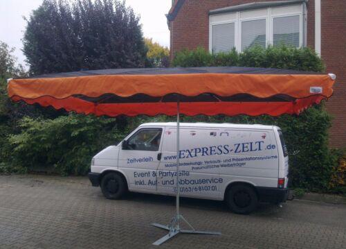 20kg Fuß schwarz-orange !!! 3x4m Marktschirm Marktstand Schirm Messestand  inkl