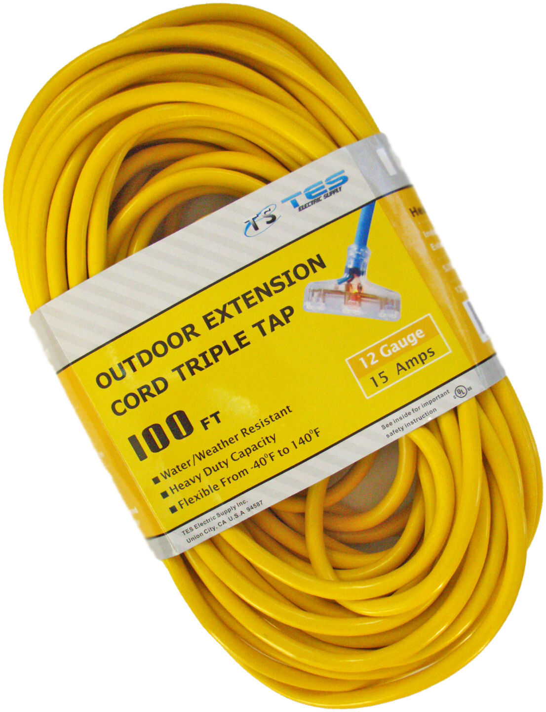 100 Ft 12 3 12 Gauge Triple Tap Heavy Duty Power Extension
