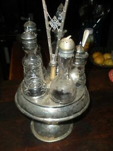 Cruet Set Antique Cut Gl Dining