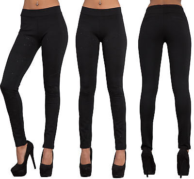 Aus Dem Ausland Importiert Womens High Waist Black Trousers Ladies Skinny Stretchy Leggings Studs Size 8-10