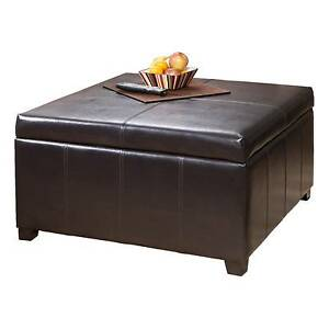 Nfusion Forrester Bonded Leather Square Storage Ottoman In Brown 339626