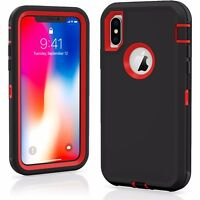 Protective Hybrid Rugged TPU Shockproof Hard Case Cover for Apple iPhone X / XS / XS Max / XR with Bonus Free Screen Protector (various colors)