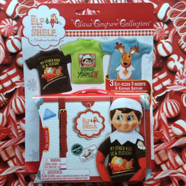 3a316a04f 3 ELF-SIZED T-SHIRTS & SUITCASE Elf on the Shelf Claus Couture Clothes