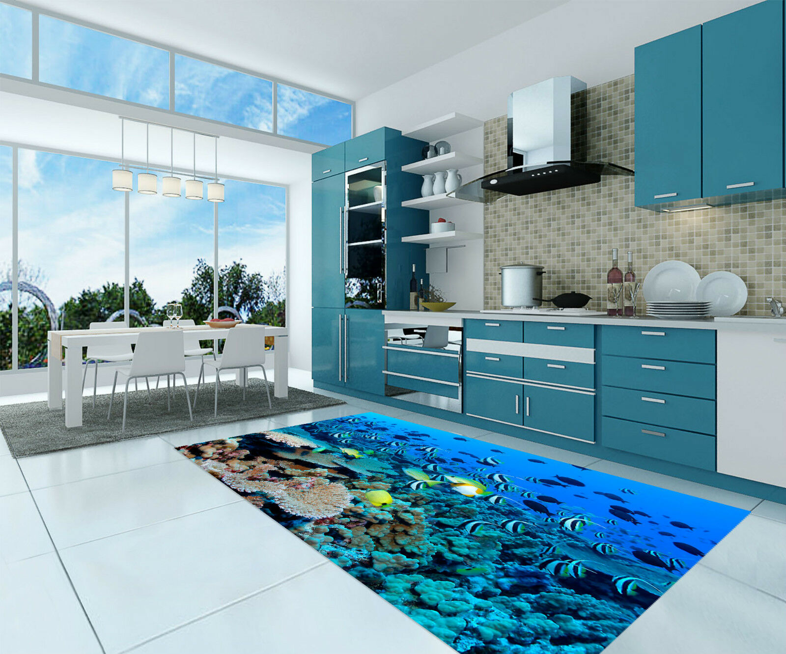 3D Striped Fishes Kitchen Mat Floor Murals Wall Print Wall Deco AJ WALLPAPER CA